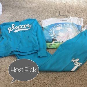 Girls Justice 3 piece soccer sweatsuit